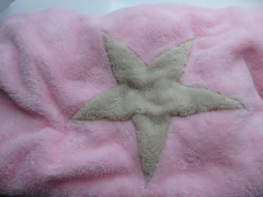 Hundedecke Welpendecke Plaid Pooch rosa Stern creme - M